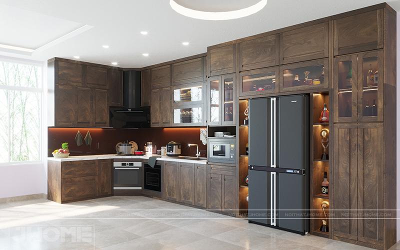 Tủ bếp gỗ óc chó không gian rộng