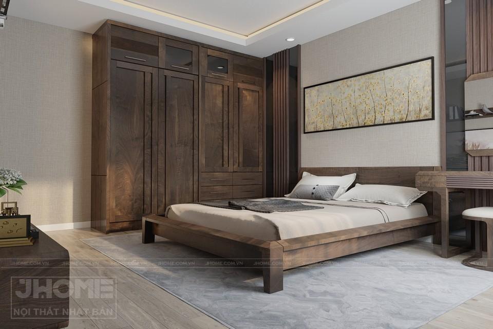 giường ngủ gỗ óc chó sang trọng