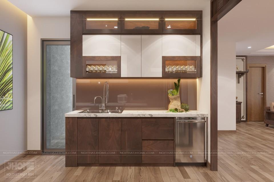 Mẫu tủ bếp không gian hẹp