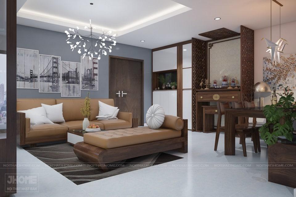 Nội thất phòng khách Nhật Bản với thảm màu tối