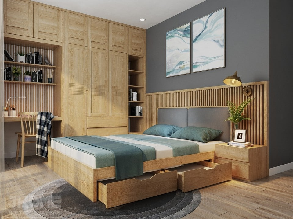 Phòng ngủ gỗ tự nhiên với giường ngủ có ngăn chứa đồ tiện lợi