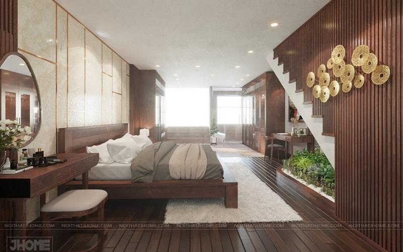 Sàn gỗ màu óc chó được thiết kế theo phong cách sang trọng