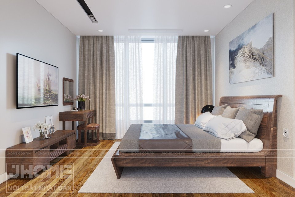 mẫu giường ngủ gỗ óc chó chung cư Park Hill