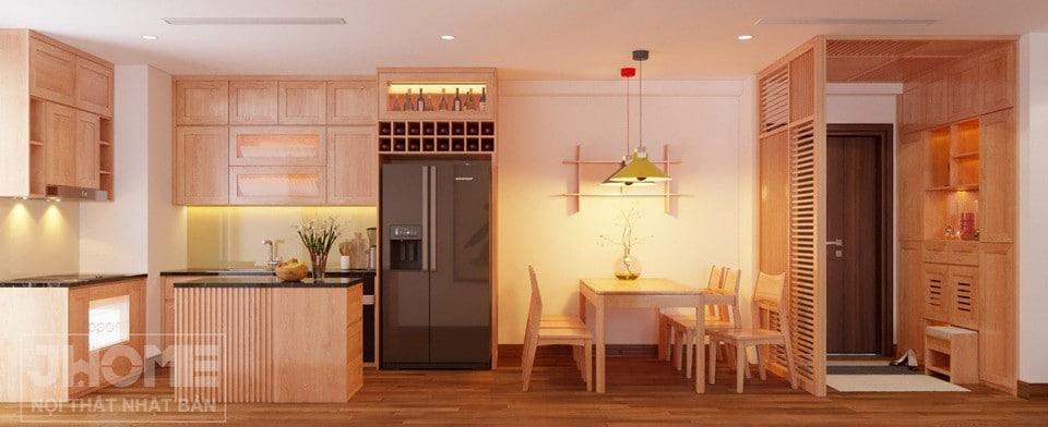 phòng bếp ăn ấm cúng chung cư Vimeco