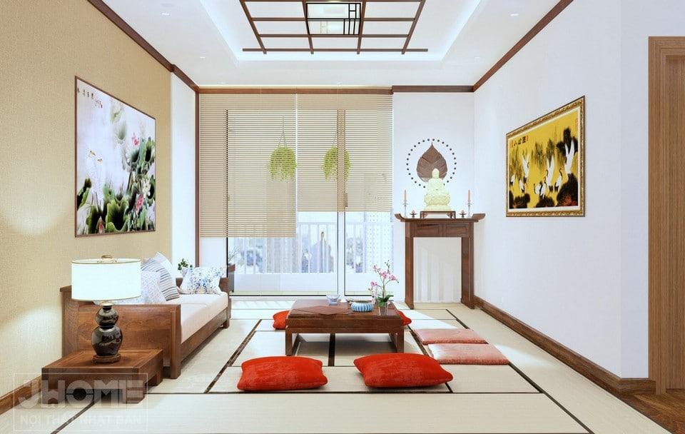 phòng khách phong cách Nhật Bản chung cư Ngoại giao đoàn