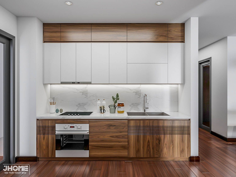 Thiết kế nội thất bếp gỗ óc chó Jhome
